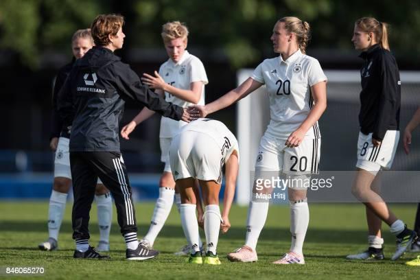 Maren Meinert head coach of Germany and Vanessa Ziegler after the U19 Women's Germany and U19 Women's Kosovo UEFA Under19 Women's Euro Qualifier...