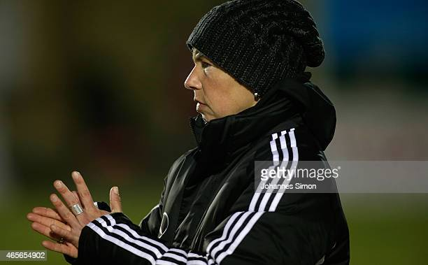 Maren Meinert head coach of Germany celebrates after the women's U19 international friendly match between Germany and Italy on March 7 2015 in La...