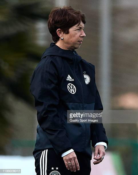 Maren Meinert head coach of Germany during the 14 Nations Tournament match between U19 Women's Germany and U19 Women's USA at on March 01 2019 in La...