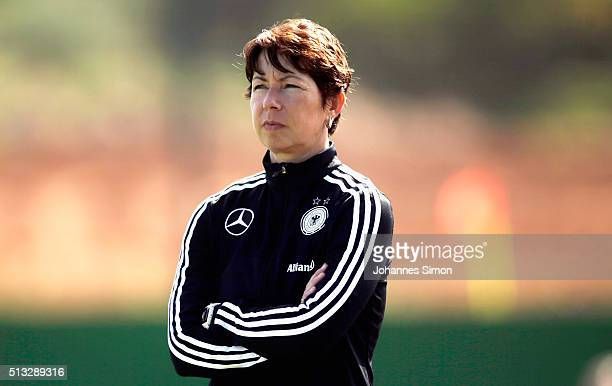 Maren Meinert head coach of Germany looks on during the women's U23 international friendly match between England and Germany on March 2 2016 in La...