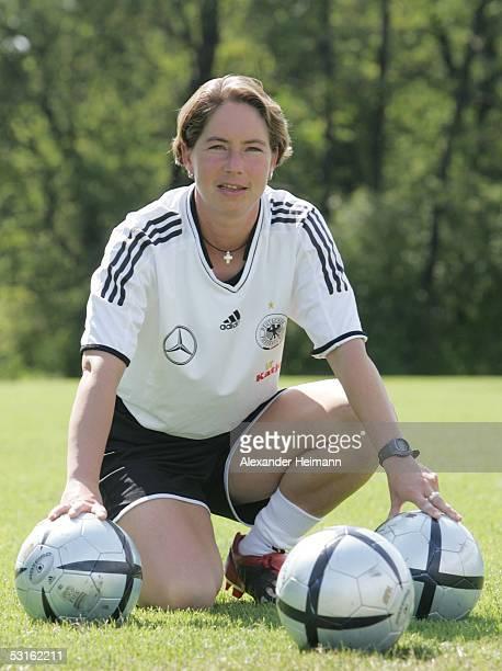 Maren Meinert looks in the camera during the Team presentation of the women's under 19 on June 28 2005 in Grunberg near Frankfurt Germany