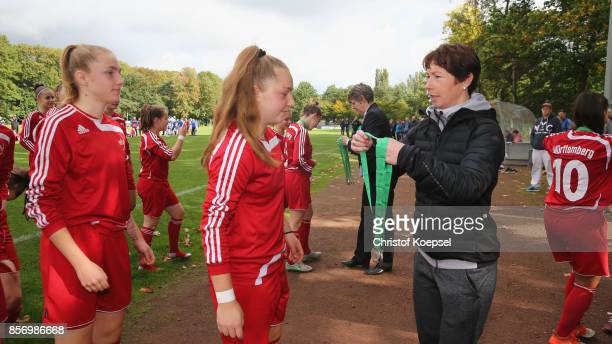 Maren Meinert sports adiministration hands out bronze medals to team members of Wuerttemberg during the U18 Girl's Federal Cup at Sport School Wedau...