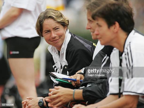 Maren Meinert the coach of the German team smiles during their Under 19 friendly match v Norway on June 29 2005 in Wetzlar Germany