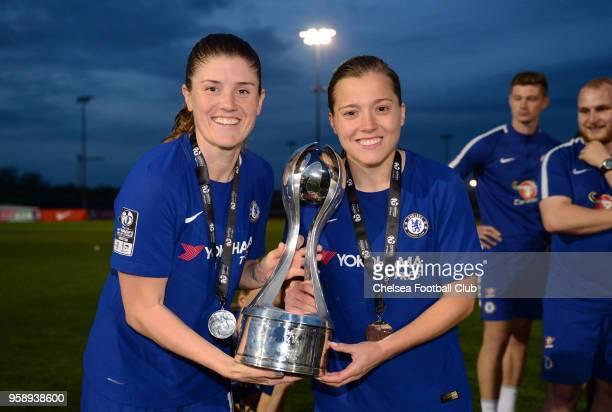 Maren Mjelde and Fran Kirby of Chelsea with the WSL Trophy after a WSL match between Bristol City Women and Chelsea Ladies at the Stoke Gifford...