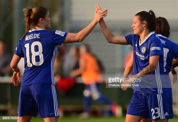 Maren Mjelde and Ramona Bachmann of Chelsea celebrate after team mate Fran Kirby scores to make it 20 during a WSL 1 match between Bristol City Women...