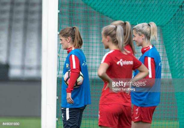 Maren Mjelde Anja Soenstervold Elise Thorsnes of Norway during training session before FIFA 2018 World Cup Qualifier between Norway v Slovakia at...
