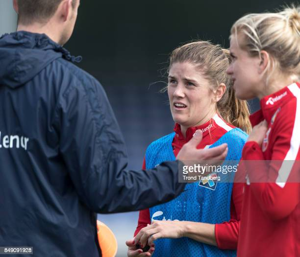 Maren Mjelde Elise Thorsnes of Norway during training session before FIFA 2018 World Cup Qualifier between Norway v Slovakia at Sarpsborg Stadion on...