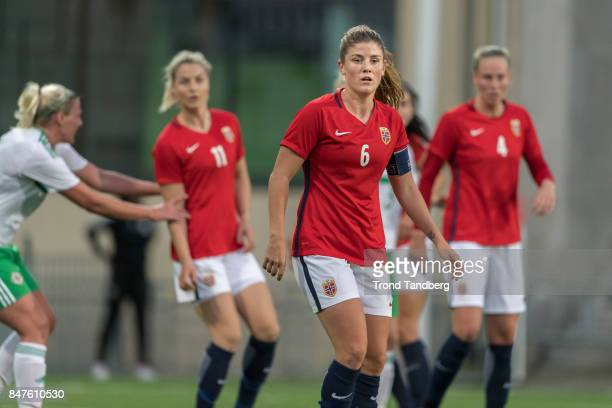 Maren Mjelde Ingrid Marie Spord Stine Pettersen Reinaas of Norway during the FIFA 2018 World Cup Qualifier between Norway and Northern Ireland at...