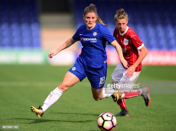 Maren Mjelde of Chelsea battles for the ball during a WSL Match between Chelsea Ladies and Bristol Academy Women on September 24 2017 in Kingsmeadow...