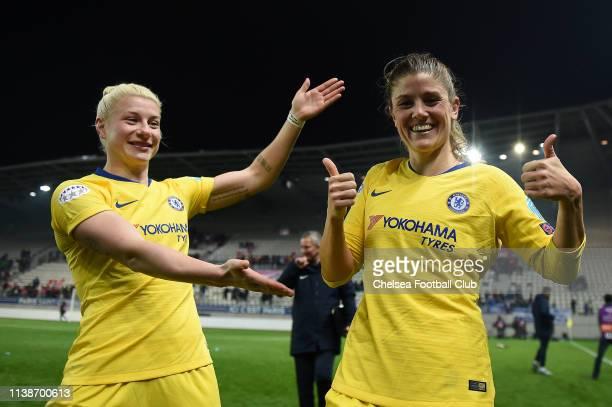 Maren Mjelde of Chelsea celebrates following her team's victory in the UEFA Women's Champions League Quarter Final Second Leg match between Paris...
