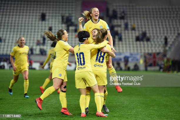 Maren Mjelde of Chelsea celebrates with teammates after scoring her team's first goal during the UEFA Women's Champions League Quarter Final Second...
