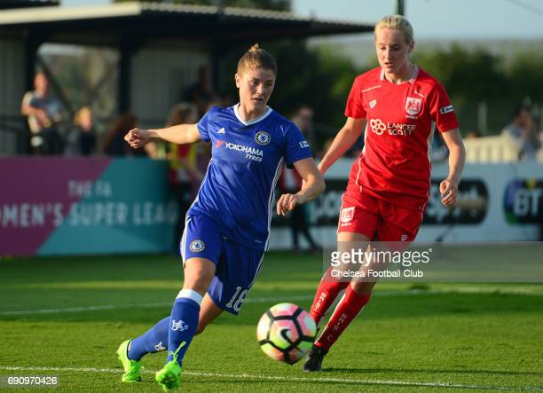 Maren Mjelde of Chelsea during a WSL 1 match between Bristol City Women and Chelsea Ladies at the Stoke Gifford Stadium on May 31 2017 in Bristol...