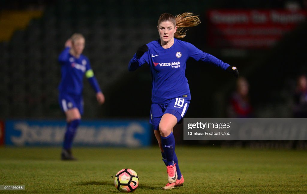 Maren MJelde of Chelsea during a WSL match between Chelsea and Yeovil Town Ladies at Huish Park on February 21, 2018 in Yeovil, England.