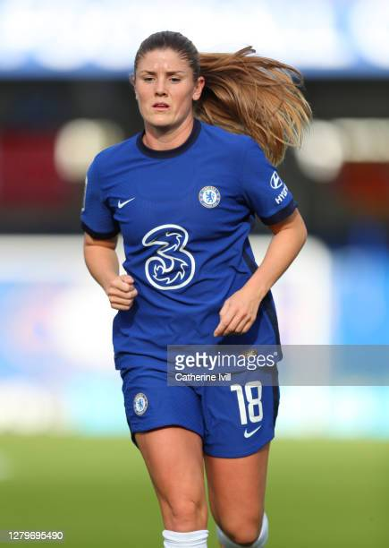 Maren Mjelde of Chelsea during the Barclays FA Women's Super League match between Chelsea Women and Manchester City Women at Kingsmeadow on October...