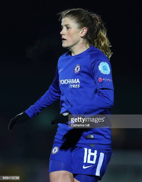 Maren Mjelde of Chelsea during the UEFA Womens Champions League QuarterFinal Second Leg between Chelsea Ladies and Montpellier at The Cherry Red...