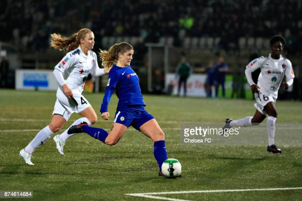 Maren Mjelde of Chelsea FC in action during the UEFA Women's Champions League between Rosengard and Chelsea Ladies at Malmo Idrottsplats on November...