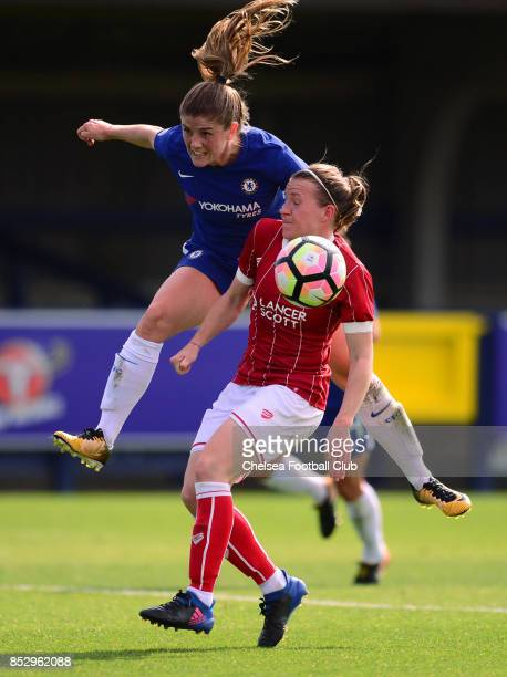 Maren Mjelde of Chelsea heads the ball during a WSL Match between Chelsea Ladies and Bristol Academy Women on September 24 2017 in Kingsmeadow England