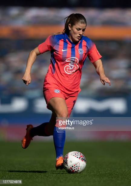 Maren Mjelde of Chelsea in action during the Womens FA Cup Quarter Final match between Everton FC and Chelsea FC at Goodison Park on September 27...
