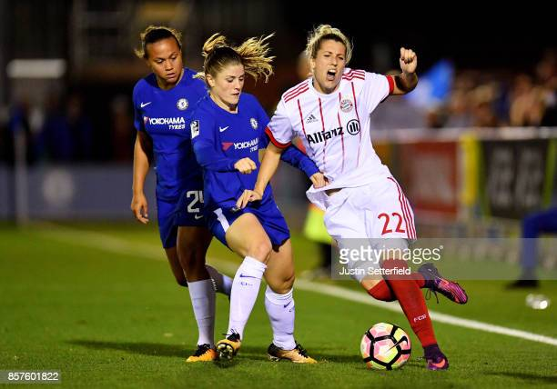 Maren Mjelde of Chelsea Ladies and Verena Faißt of Bayern Munich during the UEFA Womens Champions League Round of 32 First Leg match between Chelsea...