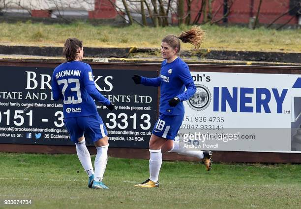 Maren Mjelde of Chelsea Ladies celebrates after scoring a penalty during the SSE Women's FA Cup Quarter Final match between Liverpool Ladies and...
