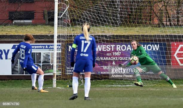 Maren Mjelde of Chelsea Ladies scoring a penalty during the SSE Women's FA Cup Quarter Final match between Liverpool Ladies and Chelsea Ladies at...