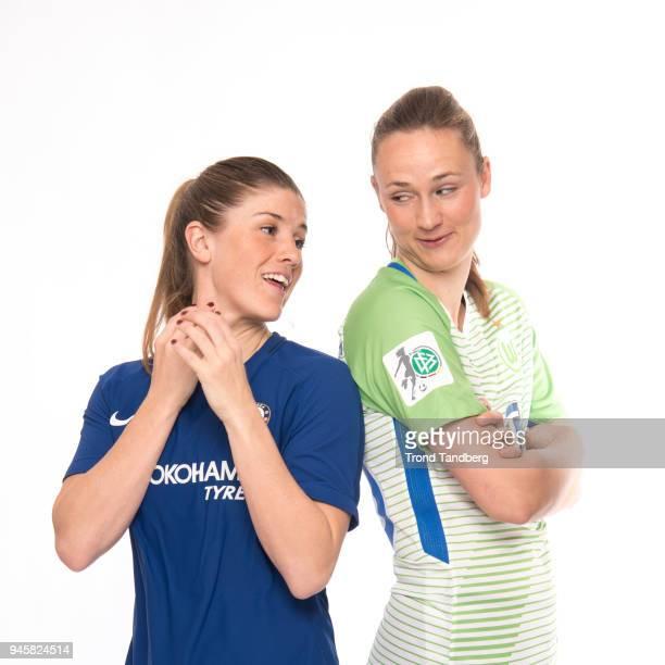 Maren Mjelde of Chelsea LFC Caroline Graham Hansen of VFL Wolfsburg during photo call on February 28 2018 in Portimao Portugal