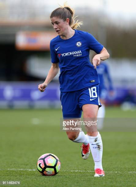Maren Mjelde of Chelsea runs with the ball during the WSL match between Chelsea Ladies and Everton Ladies at The Cherry Red Records Stadium on...