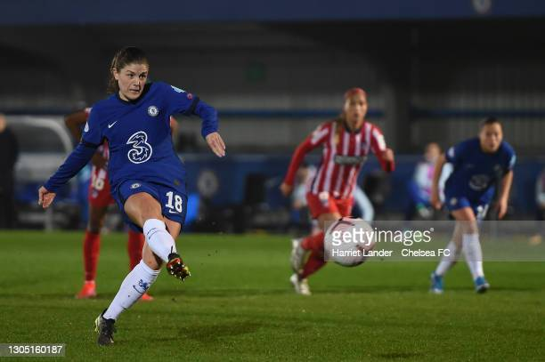 Maren Mjelde of Chelsea scores a penalty for her team's first goal during the Women's UEFA Champions League Round of 16 match between Chelsea FC...