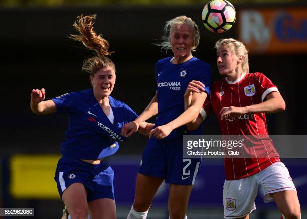 Maren Mjelde of Chelsea scores from a header to make it 50 during a WSL Match between Chelsea Ladies and Bristol Academy Women on September 24 2017...