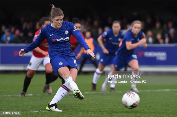Maren Mjelde of Chelsea scores her team's first goal during the Barclays FA Women's Super League match between Chelsea and Manchester United at...