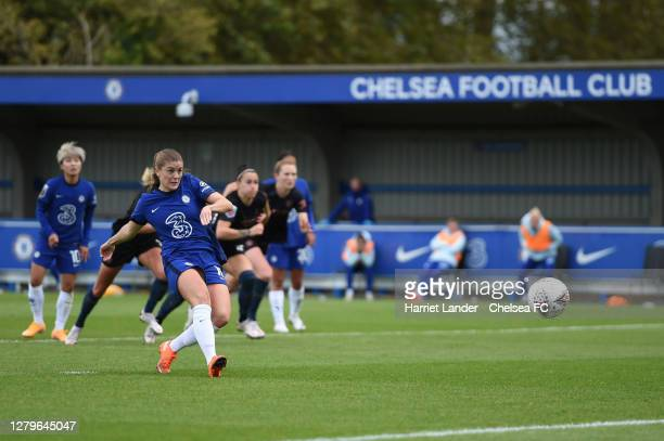 Maren Mjelde of Chelsea scores her team's first goal during the Barclays FA Women's Super League match between Chelsea Women and Manchester City...