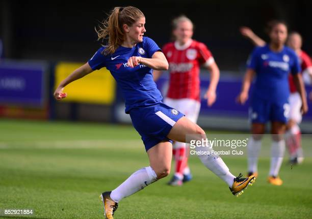 Maren Mjelde of Chelsea scores to make it 30 during a WSL Match between Chelsea Ladies and Bristol Academy Women on September 24 2017 in Kingsmeadow...