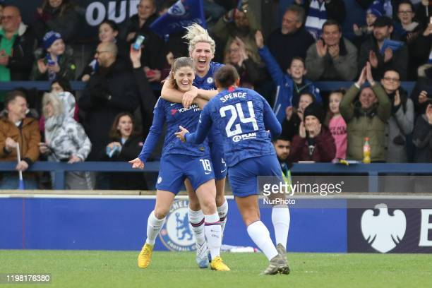 Maren Mjelde of Chelsea Women celebrating her team's first goalduring the Barclays FA Women's Super League match between Chelsea and West Ham United...