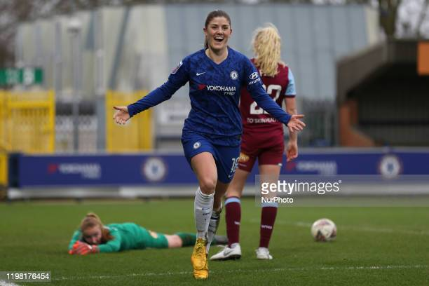 Maren Mjelde of Chelsea Women celebrating her team's sixth goal during the Barclays FA Women's Super League match between Chelsea and West Ham United...