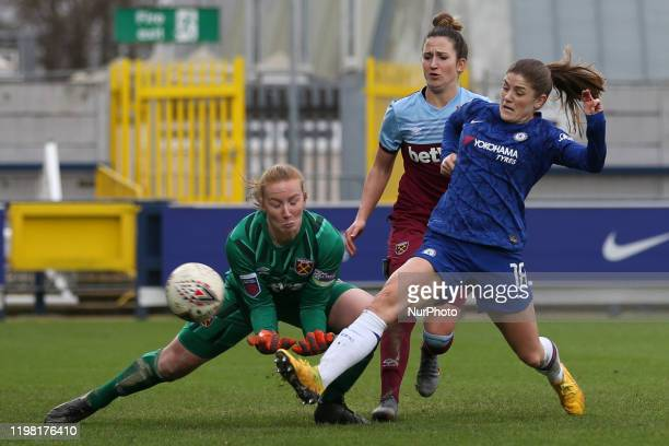 Maren Mjelde of Chelsea Women scoring her team's sixth goal during the Barclays FA Women's Super League match between Chelsea and West Ham United at...