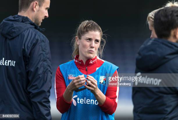 Maren Mjelde of Norway during training session before FIFA 2018 World Cup Qualifier between Norway v Slovakia at Sarpsborg Stadion on September 18...