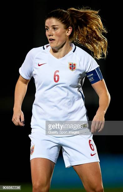 Maren Mjelde of Norway in action during the international friendly match between Norway Women and Iceland Women at La Manga Club on January 23 2018...