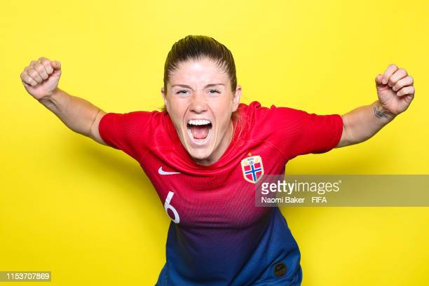 Maren Mjelde of Norway poses for a portrait during the official FIFA Women's World Cup 2019 portrait session at Hotel Novotel Reims Tinqueux on June...