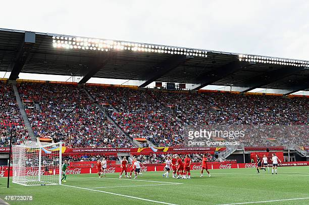 Maren Mjelde of Norway scores their first goal during the FIFA Women's World Cup Canada 2015 Group B match between Germany and Norway at Lansdowne...