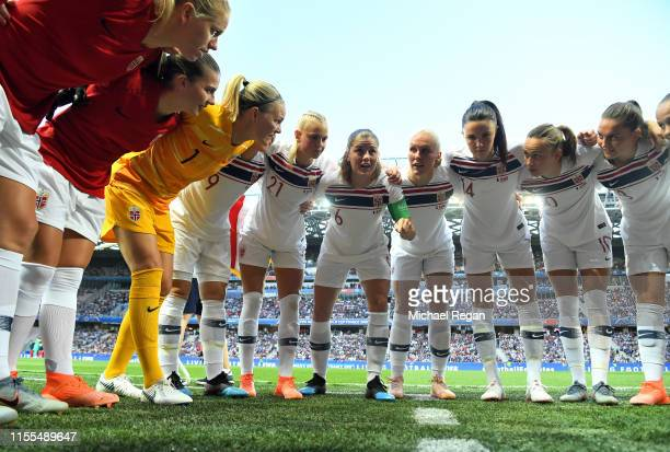 Maren Mjelde of Norway speaks to her teammates during a team huddle prior to the 2019 FIFA Women's World Cup France group A match between France and...