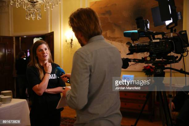 Maren Mjelde talks to the media during the Football Association of Norway National Team Equal Pay Agreement Announcement at the Norwegian...
