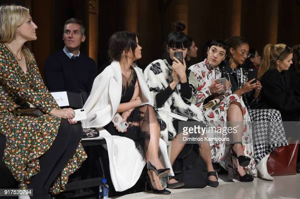 Maren Morri and Mia Moretti attend the Oscar De La Renta fashion show during New York Fashion Week The Shows at The Cunard Building on February 12...