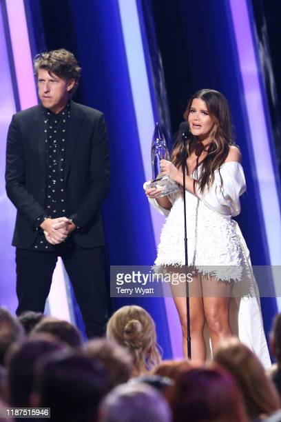 Maren Morris accepts an award onstage during the 53rd annual CMA Awards at the Bridgestone Arena on November 13 2019 in Nashville Tennessee