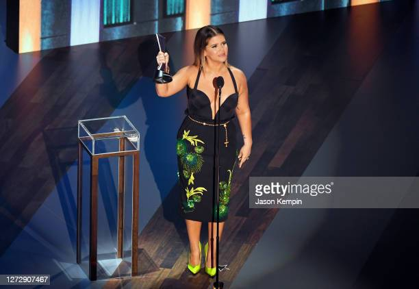 Maren Morris accepts the Female Artist of the Year award onstage during the 55th Academy of Country Music Awards at the Grand Ole Opry on September...