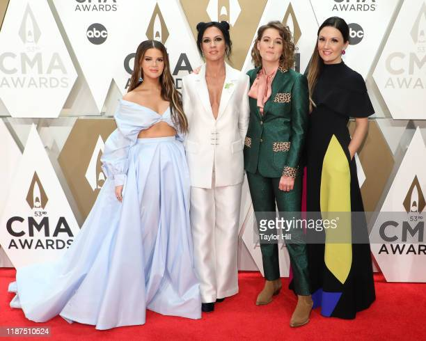 Maren Morris Amanda Shires Brandi Carlile and Natalie Hemby attend the 53nd annual CMA Awards at Bridgestone Arena on November 13 2019 in Nashville...
