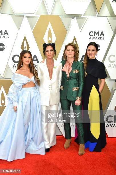 Maren Morris Amanda Shires Brandi Carlile and Natalie Hemby of The Highwomen attend the 53rd annual CMA Awards at the Music City Center on November...