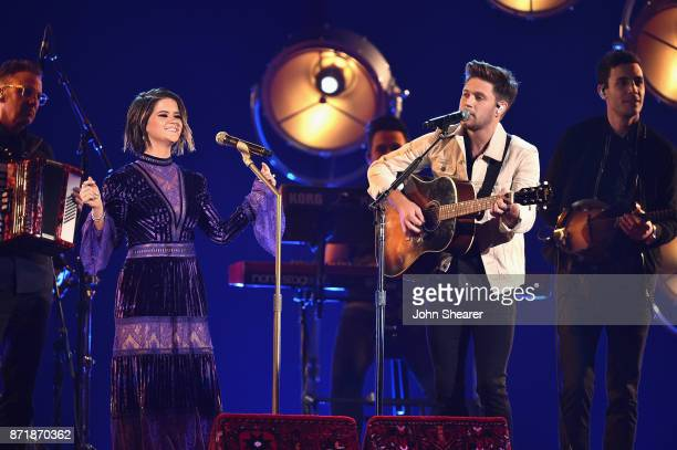 Maren Morris and Niall Horan perform onstage at the 51st annual CMA Awards at the Bridgestone Arena on November 8 2017 in Nashville Tennessee