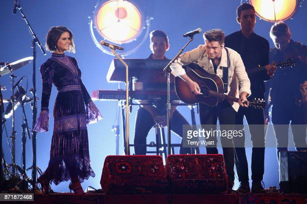 Maren Morris and Niall Horan perform onstage during the 51st annual CMA Awards at the Bridgestone Arena on November 8 2017 in Nashville Tennessee