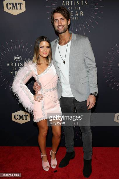 Maren Morris and Ryan Hurd attend the 2018 CMT Artists of The Year at Schermerhorn Symphony Center on October 17 2018 in Nashville Tennessee