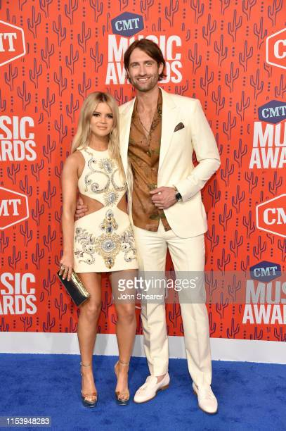 Maren Morris and Ryan Hurd attend the 2019 CMT Music Award at Bridgestone Arena on June 05 2019 in Nashville Tennessee